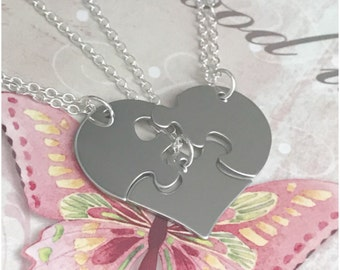Three Piece Heart Puzzle Necklaces - Set of Three Sterling Silver Heart Shaped Puzzle Necklace - Set of 3 Necklaces with Puzzle Pieces