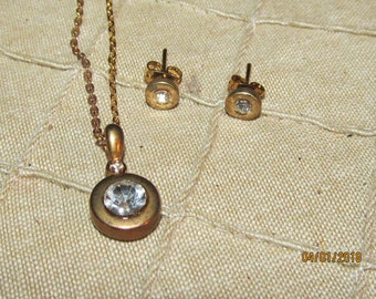"""Vintage Goldtone Clear Crystal Rhinestone Necklace with Matching Post Earrings Set 17"""" Chain - Simple Elegant"""
