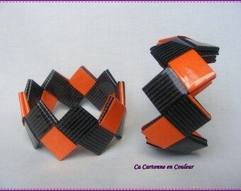 "Bracelet closed paper ""Black and orange Duo"""