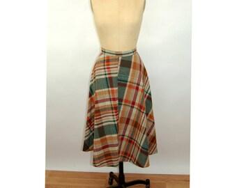 1970s plaid skirt wool circle skirt bias cut high waist red green RT Junior Size S
