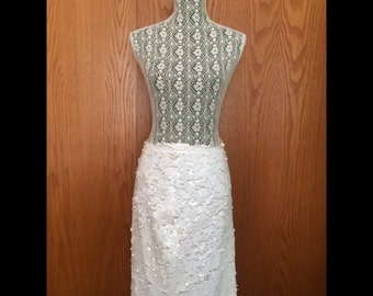 90s Magali Collection White Sequin Pencil Skirt - Glam, NYE, Holiday - M