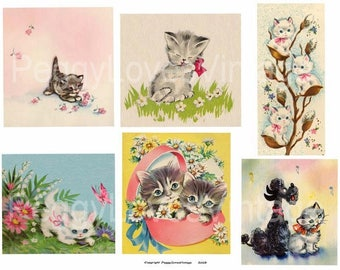 Cats Galore 1 Digital Collage from Vintage Greeting Cards  - Instant Download