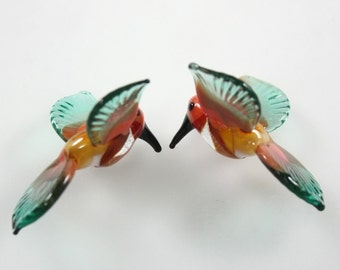 Glass Hummingbirds Miniature Lampwork Beads Tropical Bird Beads RC Art Glass Lampwork Handmade