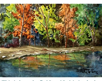 Fall trees Watercolor Landscape Painting Print Watercolor landscape Tree Water reflections Creek River watercolour Paintings 11x14 Giclee