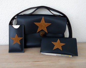 Whole bag (satchel) Navy blue leather cell phone, checkbook cover star