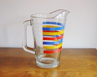 Mid Century Striped Glass Pitcher, Retro Drink Serving, 60 Ounce Wide Stripes Blue Yellow Red Primary Colors, Lemonade Iced Tea Beer Pitcher
