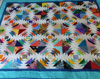 Patchwork Scrappy Pineapple Quilt, colourful scrappy lap quilt, sofa throw