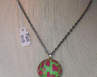 Hand Painted 25MM Glass Bead Pendant - P25-013