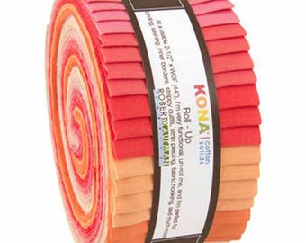 "Kona Cotton Solids Roll Up Blushing Bouquet Palette - 2.5"" Inch Precut Fabric Strips - Coral Pink Peach - Kona Jelly Roll - RU-434-40"