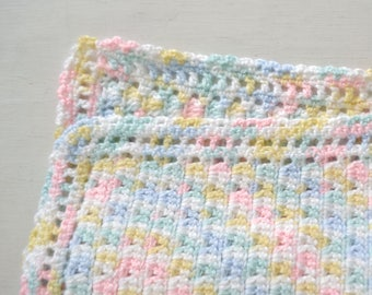 Baby Blanket Handmade Crochet Blanket Pastel Rainbow White Baby Blanket Shell Stitch Knit Stroller Blanket Boys or Girls