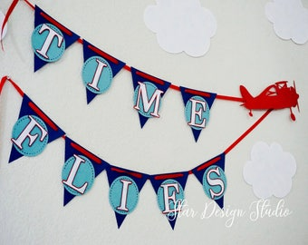 Airplane Happy Birthday Banner, Pilot Birthday, Aviator Birthday, Name Banner, Cake Topper