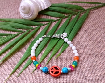 Colourful peace bracelet - Colourful beaded bracelet with orange peace sign