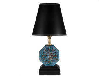 FREE SHIPPING: Vintage Turquoise Blue Fabric Covered Trinket Box Upcycled Lamp with New Black Lamp Shader