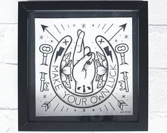 Make Your Own Luck: Box Framed Drawing