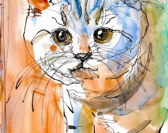 Watercolour Cat Digital Painting