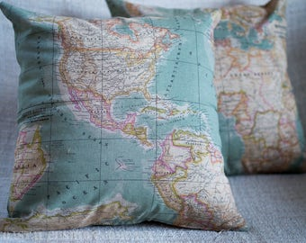"""Vintage Style World Atlas / Map  Cushion Cover. Duck egg blue cartography design, 17"""" x 17"""" square, cotton blend fabric."""