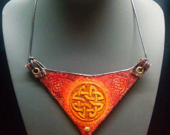 """Leather bib necklace-inspired Celtic, Plum, and yellow 100% handmade, """"Morgan"""""""