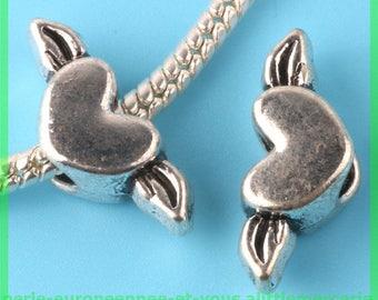 Pearl European N177 heart wing charms bracelet