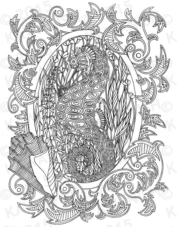 Seahorse Underwater Adult Coloring Page Gift Wall Art Ocean