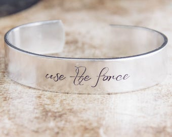 Use The Force / Star Wars Jewelry / Star Wars Gift / Jedi Jewelry / Jedi Gift / Quote Jewelry / Nerdy Jewelry / Geeky Jewelry