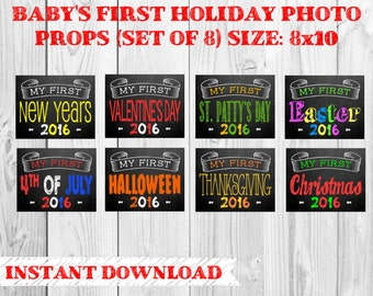 Printable Baby's First Holiday Chalkboard Photo Props | Set of 8 Holidays | Size: 8x10 | Instant Download | by MMasonDesigns