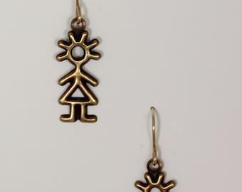 Stick figure earrings on hypoallergenic 14k gold filled ear wires