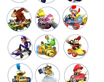 INSTANT DOWNLOAD Mario Kart Cupcake Toppers