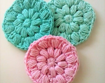 Cotton Face Scrubbies, Handmade Reusable Face Pads, Puffy Round Mini Washcloths, Crochet Scrubby, Makeup Remover, Eco Friendly - Set of 3