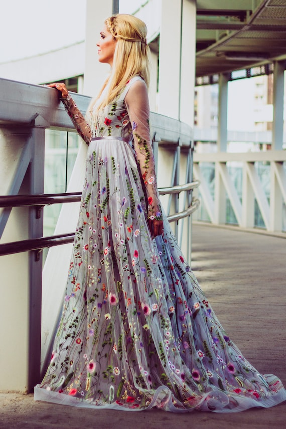 Flower wedding dress in gray color wedding dress with for Color embroidered wedding dress