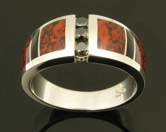 Ladies black diamond sterling silver dinosaur bone and onyx inlay ring