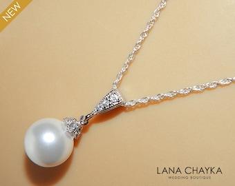 White Drop Pearl Necklace Sterling Silver CZ Pearl Bridal Necklace Swarovski 10mm Pearl Single Pearl Wedding Necklace Bridal Pearl Jewelry