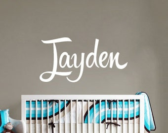 Kids Name Sticker Hipster Script Decal - Wall Decal for Nursery - Baby Shower Wall Sticker - WAL-2158