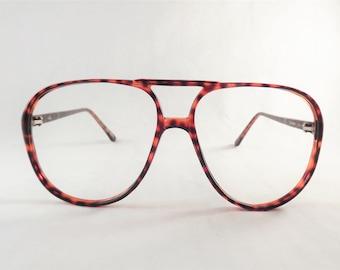 Mens Eyeglasses, Big Geeky Tortoise Shell Aviator Glasses, Cherry Red Frames, New Old Stock Frames