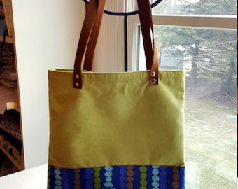 A Blue Geometric Tote Family -- Leather Handles