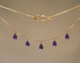 Healing Gemstone Necklace - Amethyst, Blue Topaz,  Carnelian, Citrine, Garnet, Peridot, Pearl, Quartz