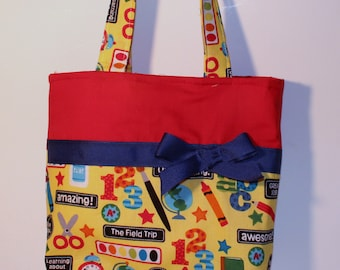 School Purse, Colors, Sissors, Ruler,   Small Tote , Little Girls Purse, Snack Bag, Diaper Bag, Party Favor
