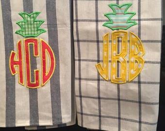 Monogrammed Tea Towel - Personalized Towel - Summer Kitchen Decor
