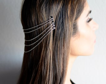 THE LARA Silver Hair Chain Jewelry Barrette Head Accessory Boho Festival Hippie Vintage Authentic Hair Jewelry Spring Summer Prom Headband