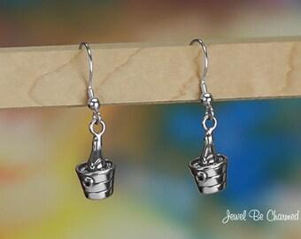 Sterling Silver Champagne Bucket Earrings Fishhook Earwires Solid .925