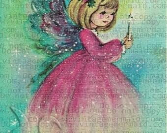PINK ANGEL PRAYING Christmas Fabric Block pca06.