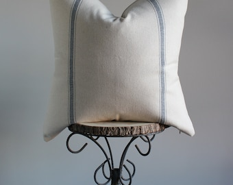 "Farmhouse Pillow; Blue Stripe Feedsack Pillow Cover; Beaumont Pillow Cover, 22"""