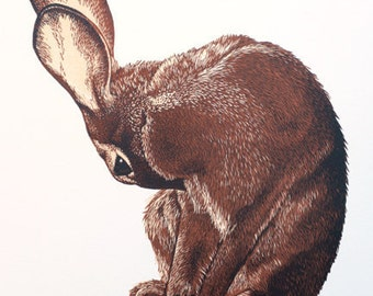 Rabbit Art, Original Hand Pulled Print