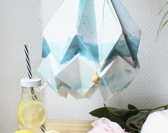 Pendant light Summer Collection | Original drawings and watercolor by creator of BellySketcher, Inês Pargana | Origami handmade lampshade