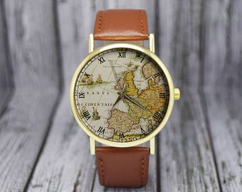 Vintage Europe Map Watch | Old Map | Cartography | Travel Gift | Ladies Watch | Men's Watch | Birthday | Wedding | Gift Ideas | Accessories
