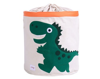 Fankang Large Sized Toy Bin Stylish Dinosaur Design Canvas Linen Fabric Storage Basket Laundry Her With Waterproof Coating For Kid S Room