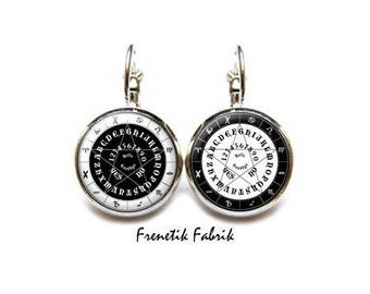 Earrings ° Ouija black-and-white ° Cabochon witch