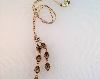 Gold Toned and Delicate Crystal Double Drop Y-Shaped Necklace - Marked Catherine Popesco, France