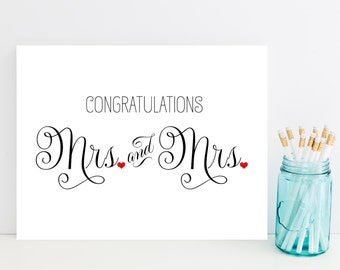 Mrs. and Mrs. Congratulations Card - Wedding Card for Lesbian Couple - Lesbian Wedding Card
