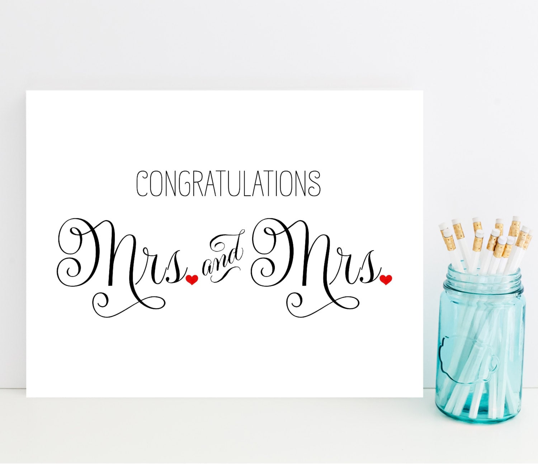 Mrs And Mrs Congratulations Card Wedding Card For Lesbian - Congratulations wedding card template