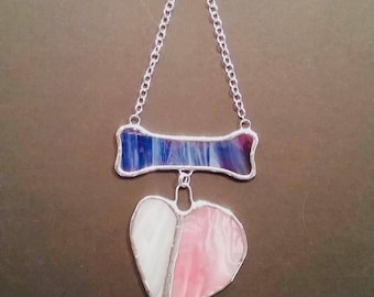 Dark Blue Dog Bone with Dangling Pink & White Wonky Heart stained glass wall hanging or suncatcher with metal chain, dog memorial